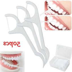 50pcs Dental Floss Flosser Brush Tooth Picks Oral Device Tee