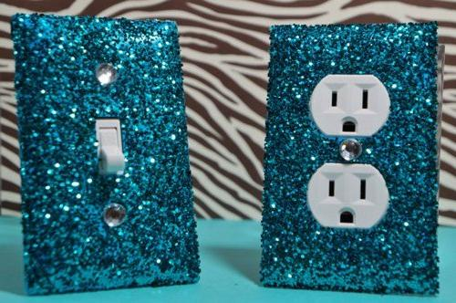 SwankElectric Teal Room Decor SET of Chunky TEAL Glitter Swi