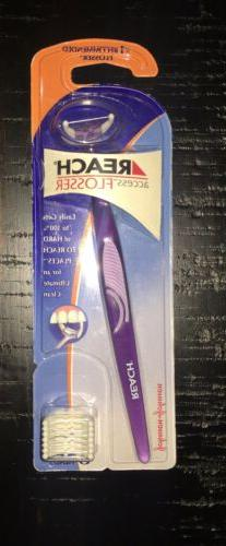 Reach Access Flosser with Purple handle includes 8 Disposabl