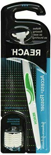 New Reach Access Flosser Green & 8 Replacement Heads
