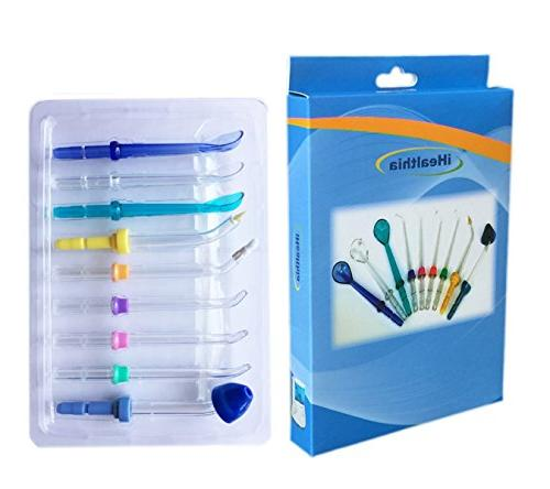iHealthia Jet Tip, Orthodontic Tip, Periodontal Tongue Cleaner, and Nasal Tip, for and Irrigators, Set