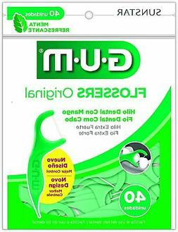 Gum Professional Clean Flossers, Mint, Extra Strong Floss, 4